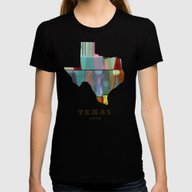 Texas State Map Modern Womens Fitted Tee Black SMALL