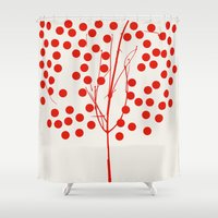Tree of Life Red Shower Curtain