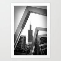 Sears Tower Sculpture Chicago Illinois Black and White Photo Art Print