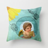Angel playing music in space Throw Pillow