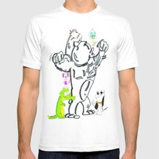 Cartoon Friends White SMALL Mens Fitted Tee
