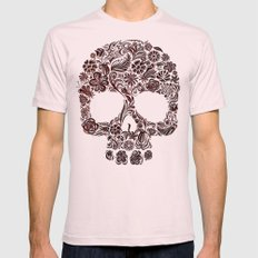 Wood Carved Sugar Skull … Mens Fitted Tee Light Pink SMALL