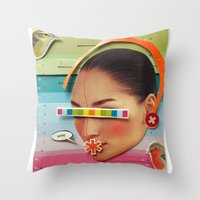 What are the birdies saying? | Collage Throw Pillow