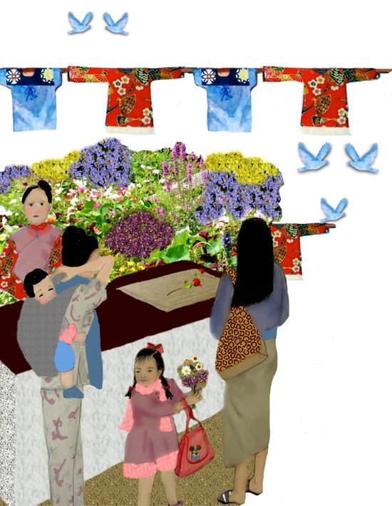 Happy Valley Flower Market Art Print