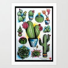 Cactus  Tattoo Flash! Art Print