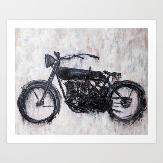 1917 Vintage Harley Davidson Motorcycle Art Print By Christinaloraine Society6