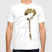 Plait Girl Mens Fitted Tee White SMALL