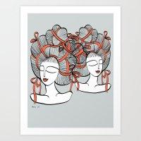Tangled Ribbons Art Print