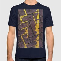 Yellow Lines Mens Fitted Tee Navy SMALL