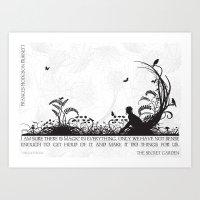 Secret Garden Black and White Illustrated Quote Art Print