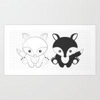 Twins Fox Art Print