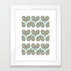 Aztec hearts Framed Art Print