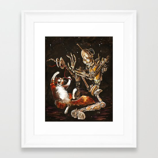 Robot and Cat in the Wild Framed Art Print