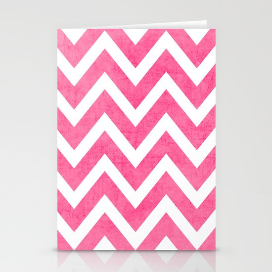 pink chevron Stationery Card