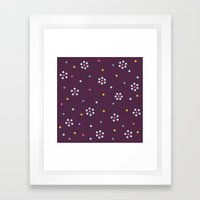 Floral Pattern In Purple And Dots Framed Art Print