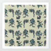 Botanical Florals | Vintage Blue Art Print