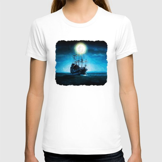 The Flying Dutchman Under The Moon - Painting Style T-shirt