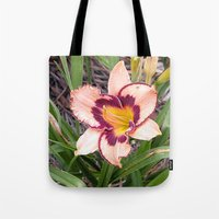 Pink Daylily Growing In … Tote Bag