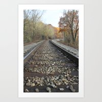Walking The Railroad Tracks Art Print