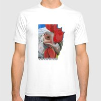 Chicken Mens Fitted Tee White SMALL