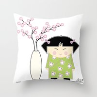 Little Asian Girl Throw Pillow