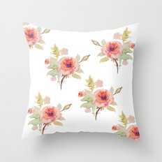 Pink Rose -white Backgro… Throw Pillow