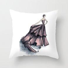 Audrey Hepburn in Pink dress vintage fashion Throw Pillow