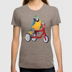 Parrot macaw on red bike Womens Fitted Tee Tri-Coffee SMALL