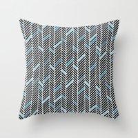 Herringbone Black and Blue Throw Pillow