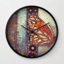 Golden Butterfly Wall Clock