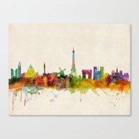 Paris Skyline Watercolor Canvas Print