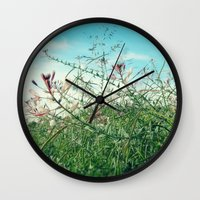 Field Wild Flowers Wall Clock