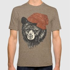 zissou the bear Mens Fitted Tee Tri-Coffee SMALL