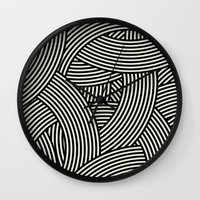 New Weave in Black Wall Clock