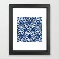 Damask Ikat: Navy and Off Ivory/White Framed Art Print