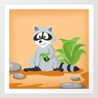 Woodland Animals Serie I. Raccoon Art Print