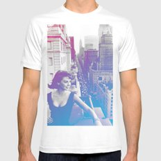 Natalie Wood Cityscape White SMALL Mens Fitted Tee