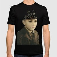 Fur Brains - Hand Painted Vintage Photography Mens Fitted Tee Black SMALL