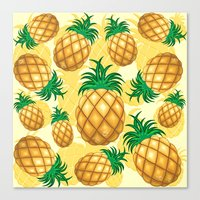 Pineapple Juicy Pattern Canvas Print