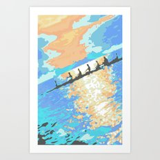 Rowing at dawn Art Print