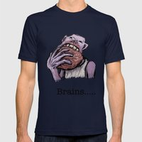 Brains.... Mens Fitted Tee Navy SMALL