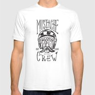 Mustache Moto Crew Mens Fitted Tee White SMALL