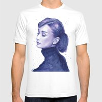 Audrey Hepburn Watercolor Portrait Mens Fitted Tee White SMALL