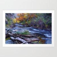 Mountain river. After raining. Night photography. Art Print