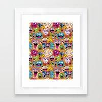Creepy Smiles Pattern Framed Art Print