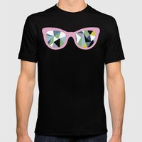 Abstract Eyes On Pink Mens Fitted Tee Black SMALL