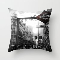 Gran Via-Madrid Throw Pillow