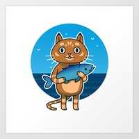 Cat & Fish Art Print