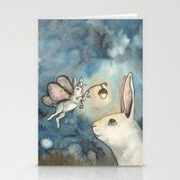 Night Bunny Fairy Stationery Cards