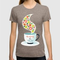 Enjoy the Tea Womens Fitted Tee Tri-Coffee SMALL